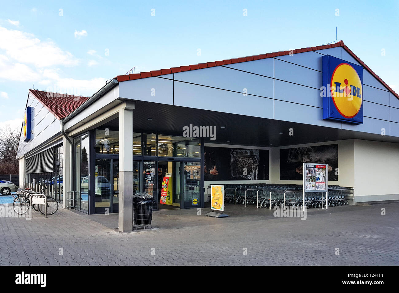 Nowy Sacz, Poland - March 20, 2019: Exterior view of the Lidl Store. Lidl is a large German global discount supermarket chain based in Neckarsulm. Stock Photo