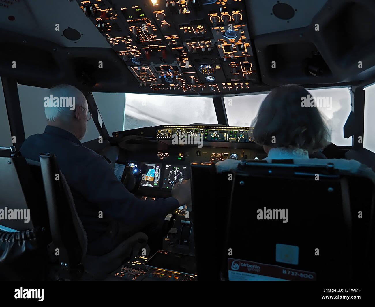 Cockpit of a Boeing 737 flight simulator in Moenchengladbach