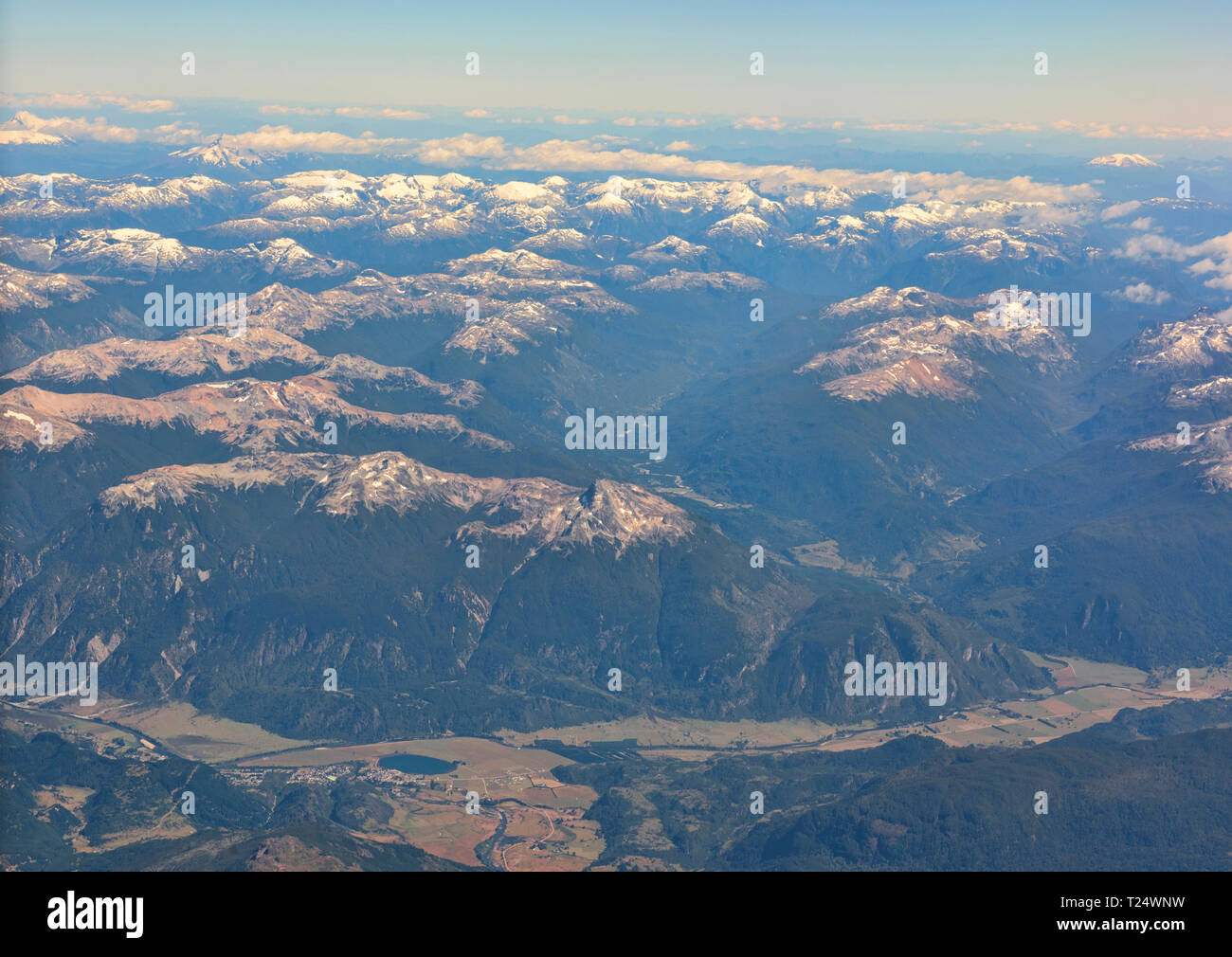 Aerial view of northern Patagonia, Coyhaique, Aysen, Patagonia, Chile - Stock Image
