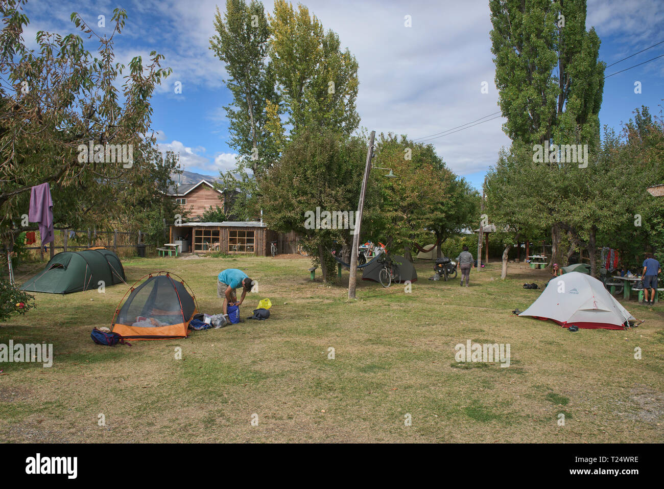 Typical campsite along the Carretera Austral, Patagonia, Aysen, Chile - Stock Image
