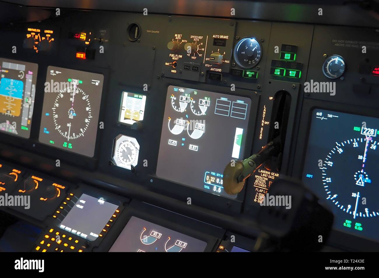 Cockpit of a Boeing 737 flight simulator in Moenchengladbach