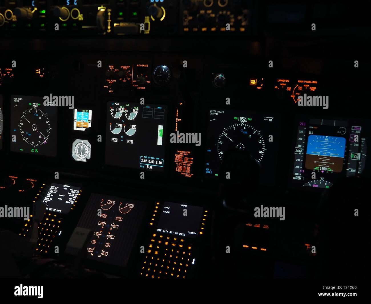 Cockpit of a Boeing 737 flight simulator in Moenchengladbach, Germany - Stock Image