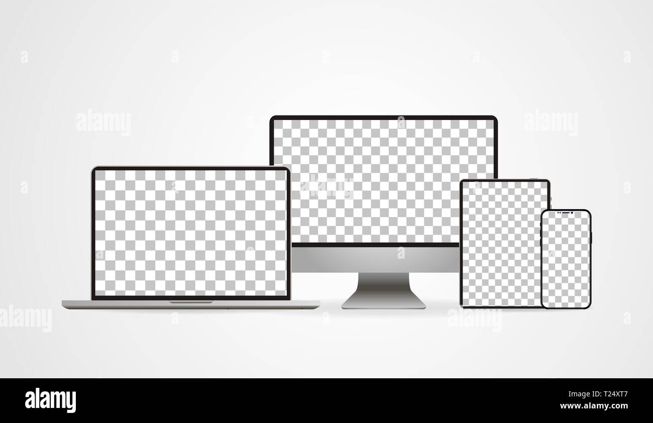 Laptop realistic. Device in mockup style. Set realistic vector devices on a white background. vector illustration Stock Photo