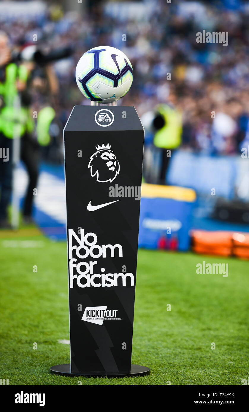 The Premier Leagues No Room For Racism campaign  during the Premier League match between Brighton & Hove Albion and Southampton at The American Express Community Stadium . 30 March 2019 Photograph taken by Simon Dack  Editorial use only. No merchandising. For Football images FA and Premier League restrictions apply inc. no internet/mobile usage without FAPL license - for details contact Football Dataco Stock Photo