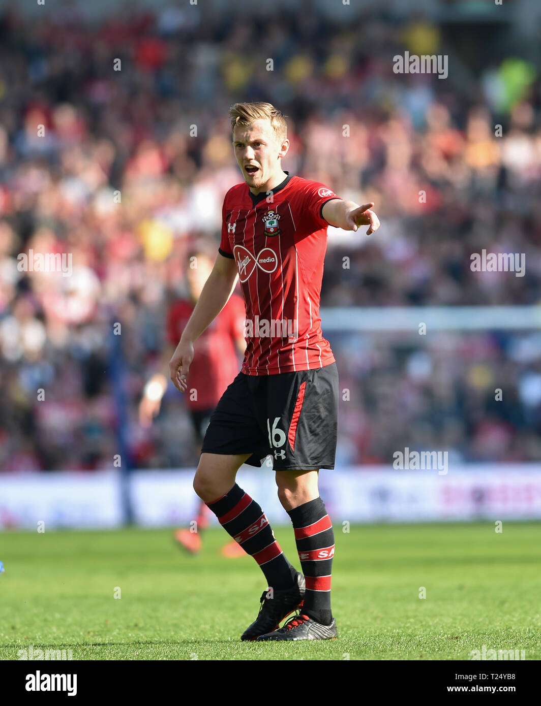 James Ward-Prowse of Southampton during the Premier League match between Brighton & Hove Albion and Southampton at The American Express Community Stadium . 30 March 2019 Editorial use only. No merchandising. For Football images FA and Premier League restrictions apply inc. no internet/mobile usage without FAPL license - for details contact Football Dataco Stock Photo