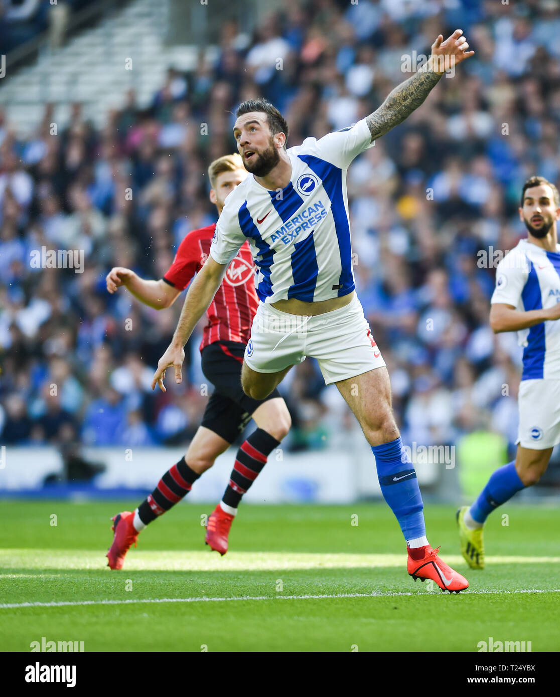 Shane Duffy of Brighton during the Premier League match between Brighton & Hove Albion and Southampton at The American Express Community Stadium . 30 March 2019 Editorial use only. No merchandising. For Football images FA and Premier League restrictions apply inc. no internet/mobile usage without FAPL license - for details contact Football Dataco Stock Photo