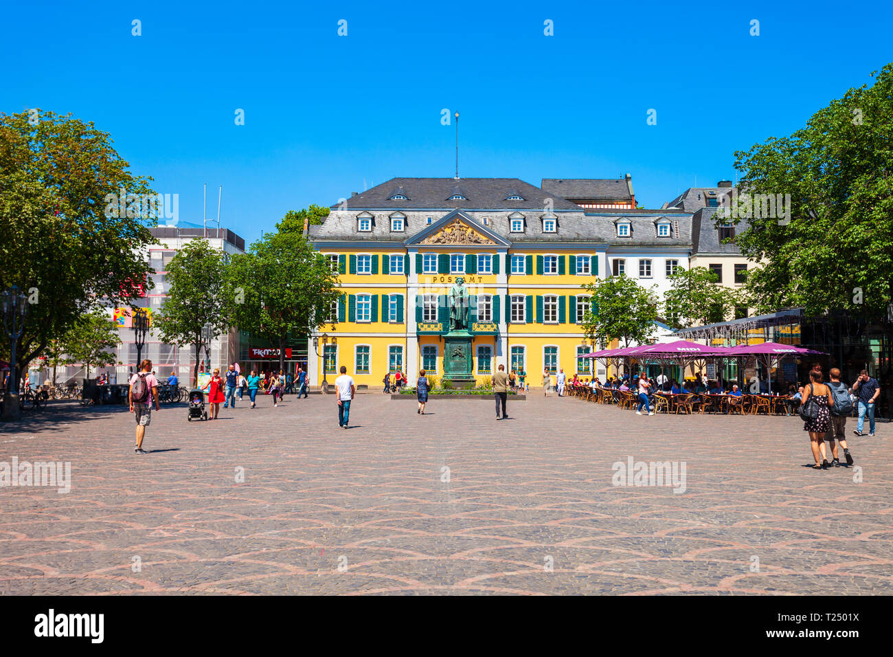 BONN, GERMANY - JUNE 29, 2018: Ludwig van Beethoven monument and post office in the centre of Bonn city in Germany Stock Photo