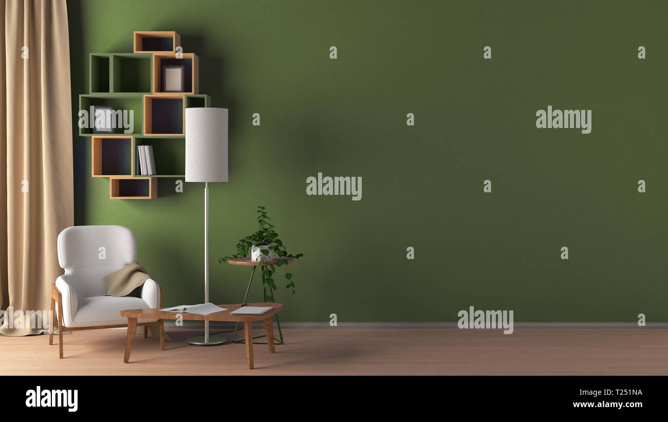 Blank Green Wall In Living Room Interior Mock Up With Flooring White Chair Lamp Coffee Table Bookshelf Plant Curtain 3d Render Stock Photo Alamy