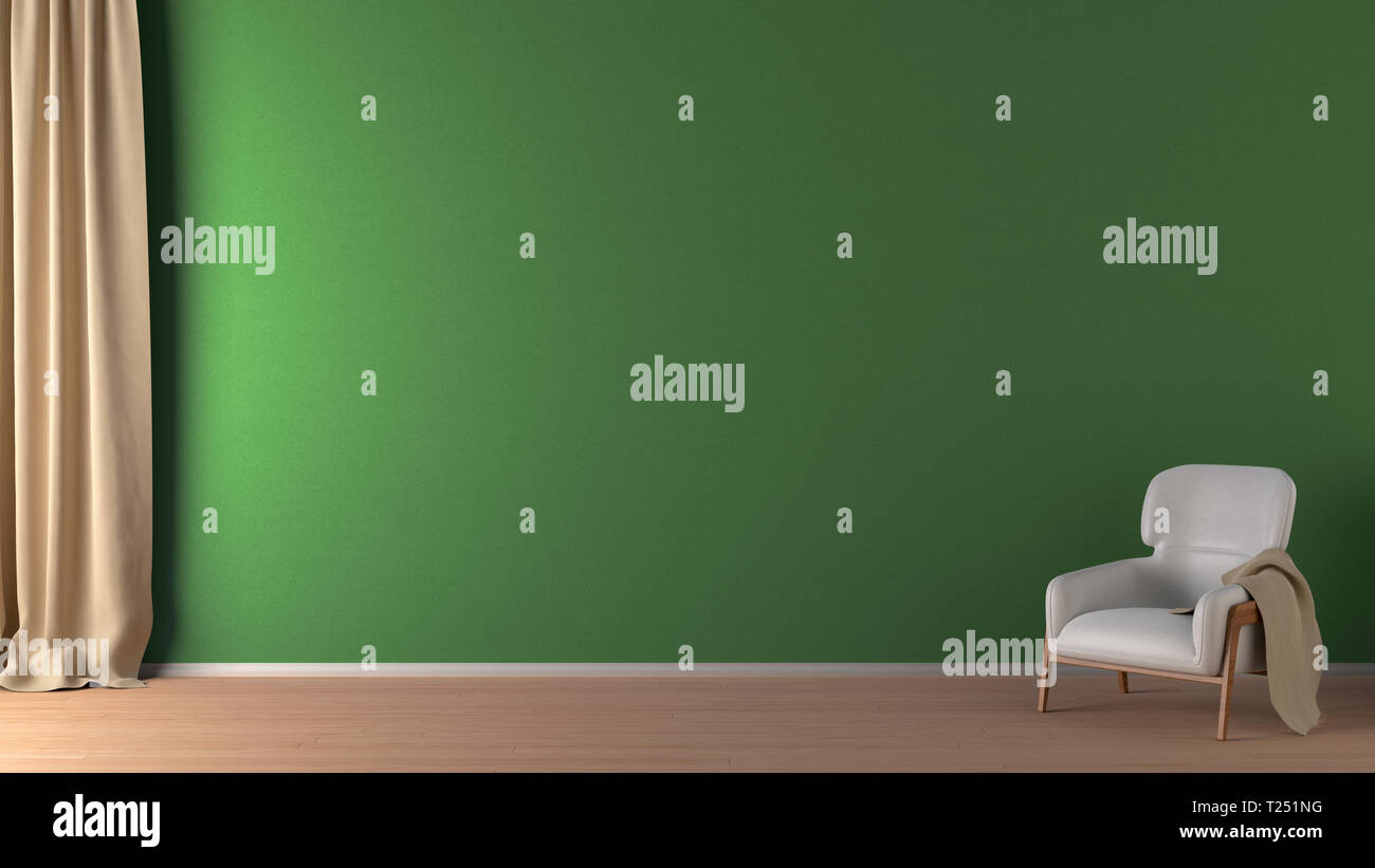 Blank Green Wall In Living Room Interior Mock Up With Flooring White Chair And Curtain 3d Render Stock Photo Alamy