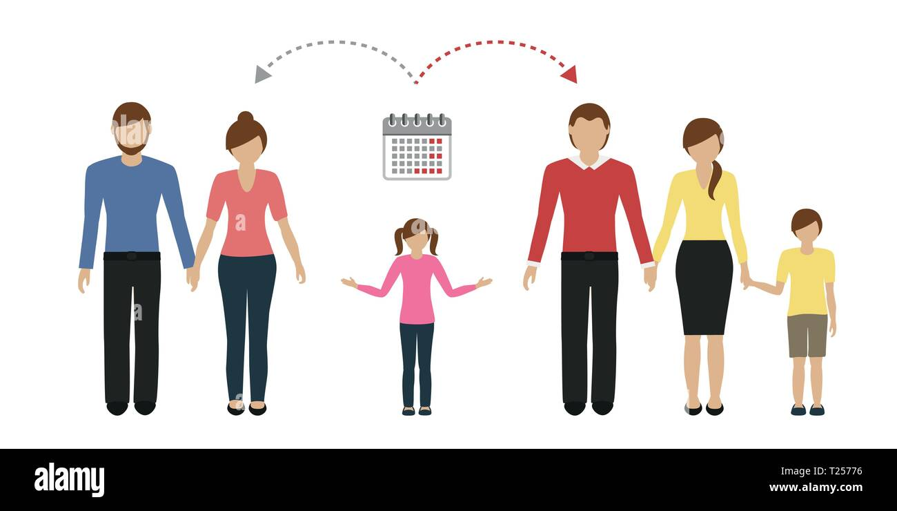 patchwork family time management concept vector illustartion EPS10 - Stock Image