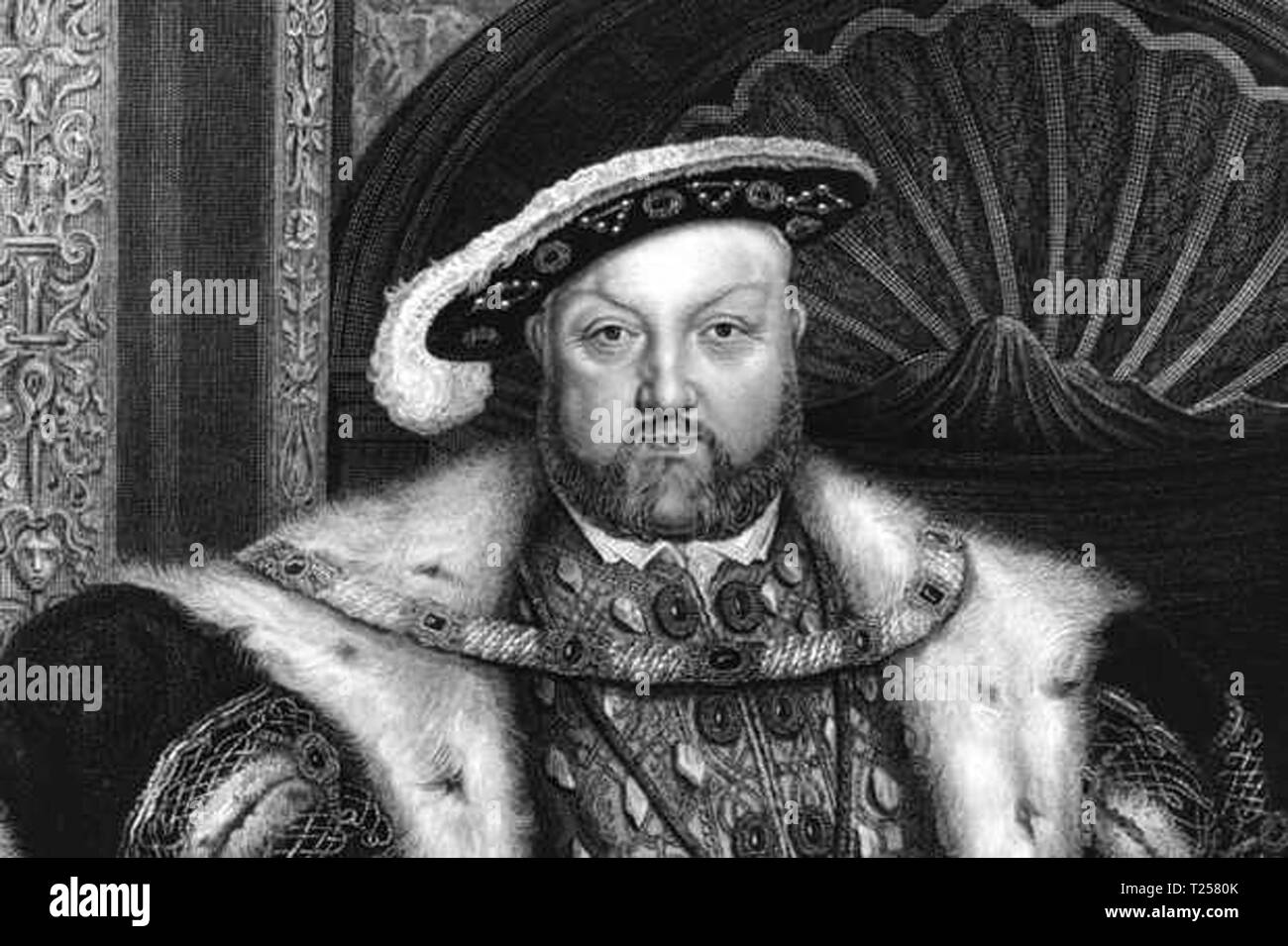 Circa 1540, A portrait of King Henry VIII (1491 - 1547), an engraving by T A Dean from a painting by Holbein. (Photo by Hulton Archive/Getty Images) - Stock Image