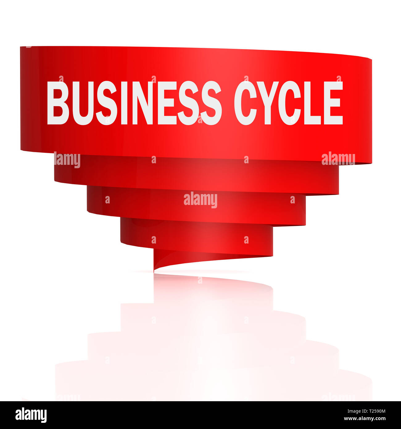 Business cycle word with curve banner, 3D rendering - Stock Image