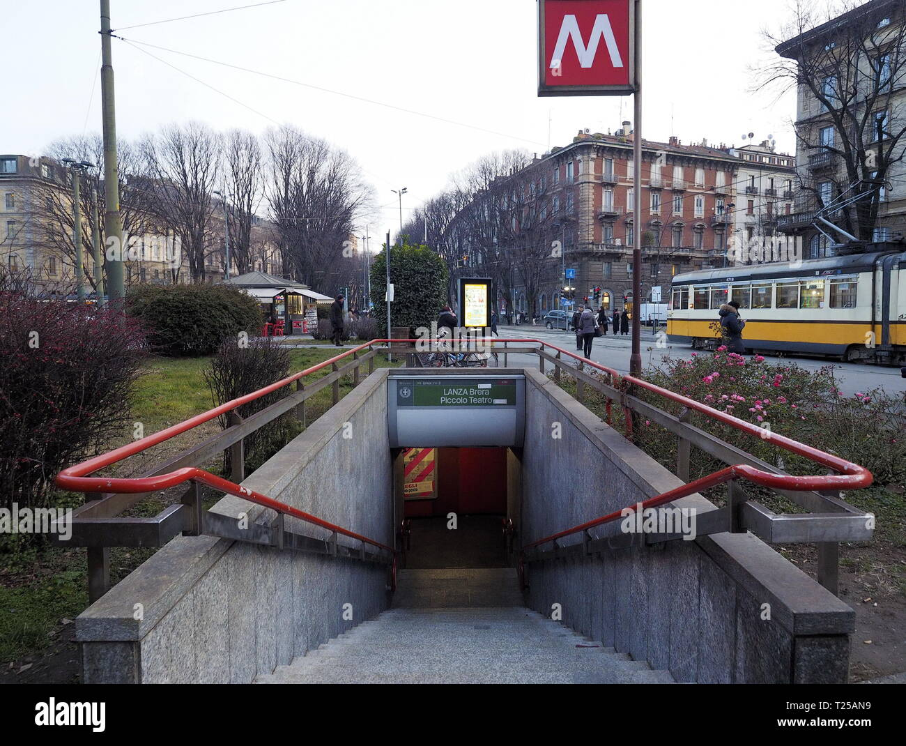 MILANO, Italy. 29 January 2019: Entrance to Lanza metro station in Milan. Lanza is a station on the line 2 of Milan underground, the green line. - Stock Image