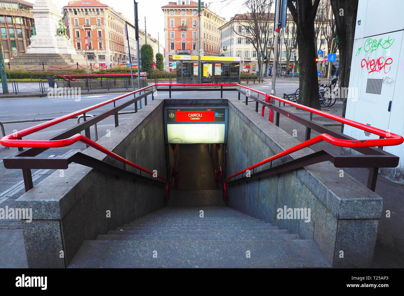 MILANO, Italy. 29 January 2019: Entrance to Cairoli metro station in Milan. Cairoli is a station on the line 1 of Milan underground, the red line. - Stock Image