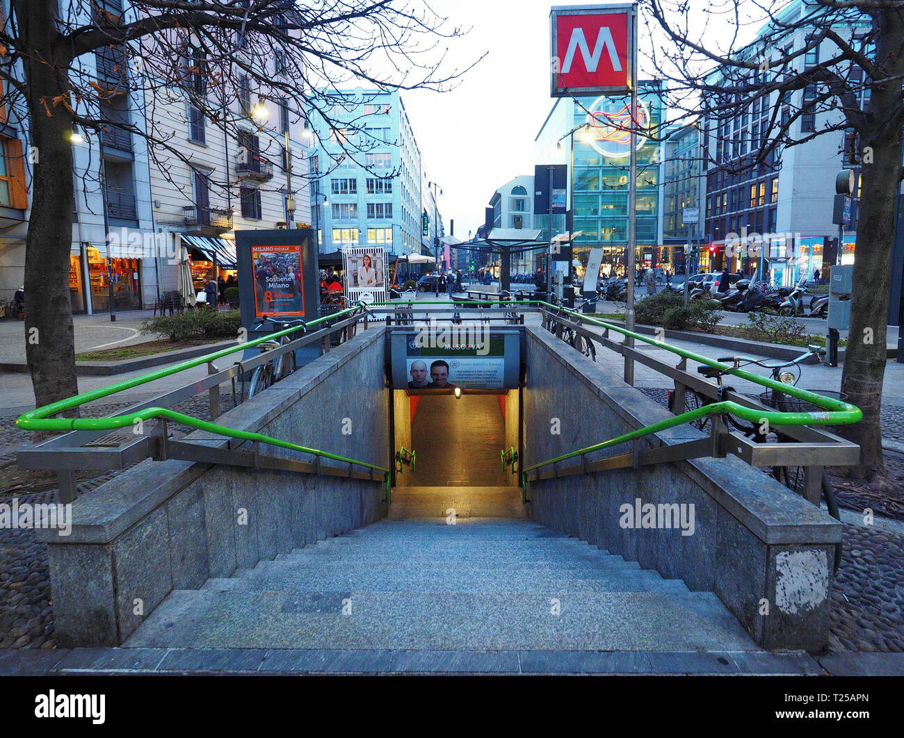 MILANO, Italy. 29 January 2019: Entrance to Moscova metro station in Milan. Moscova is a station on the line 2 of Milan underground, the green line. - Stock Image