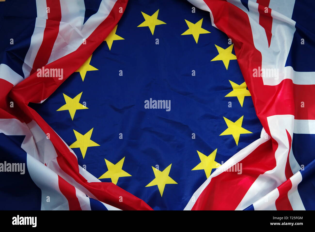 uk and eu flag brexit Stock Photo