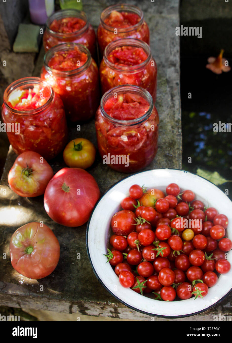 Preserving tomatoes in jars for the winter, Bulgaria - Stock Image