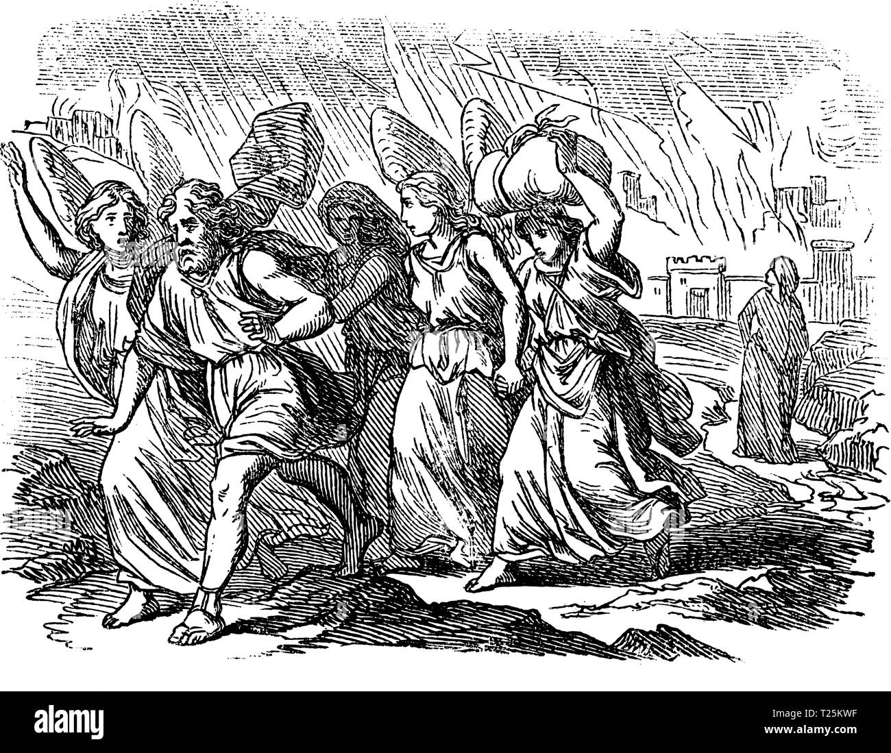 Vintage antique illustration and line drawing or engraving of biblical story about destruction of cities Sodom and Gomorrah. From Biblische Geschichte des alten und neuen Testaments, Germany 1859.Genesis 18-19. Stock Vector