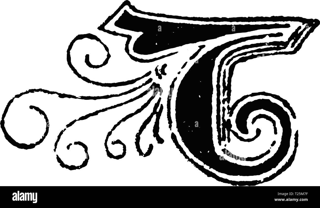Vintage antique line drawing or engraving of decorative capital letter B with ornament or embellishment around. From Biblische Geschichte des alten und neuen Testaments, Germany 1859. - Stock Image
