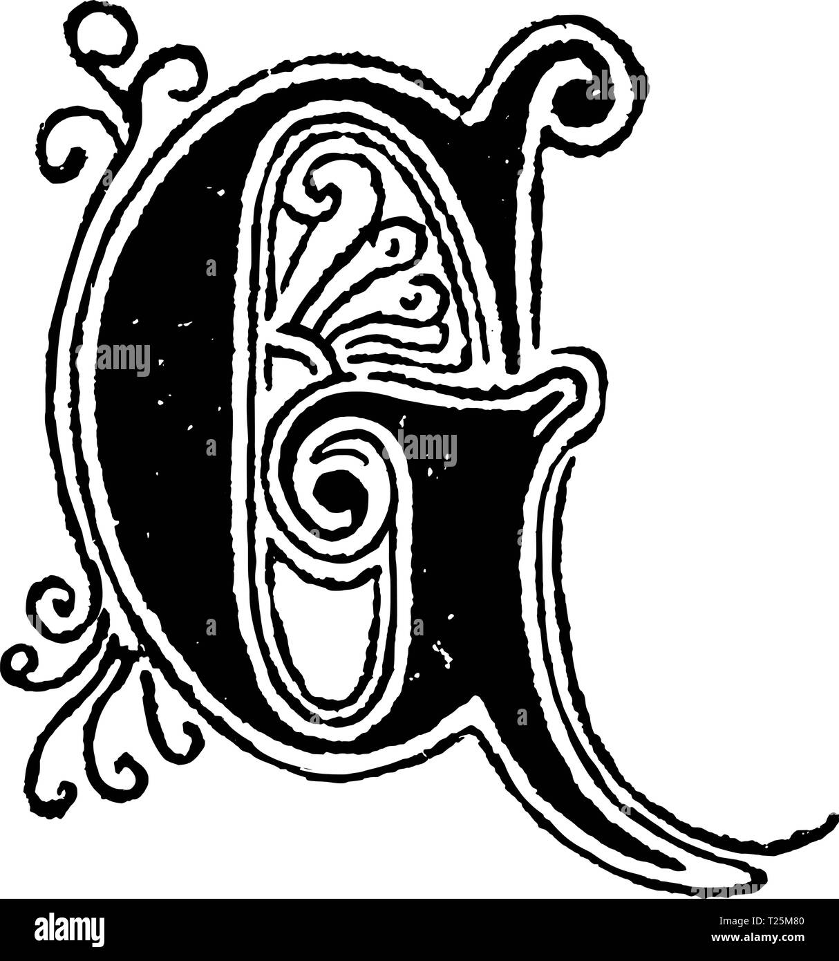 Vintage antique line drawing or engraving of decorative capital letter G with ornament or embellishment around and inside. From Biblische Geschichte des alten und neuen Testaments, Germany 1859. - Stock Image