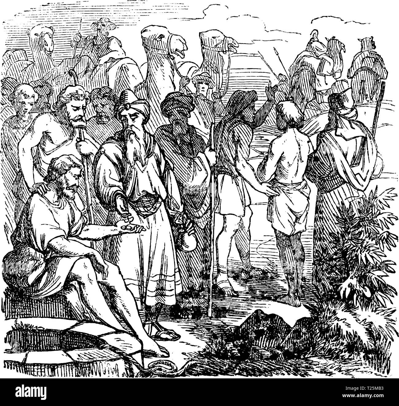 Vintage antique illustration and line drawing or engraving of biblical story about Joseph sold in to slavery by his brothers. From Biblische Geschichte des alten und neuen Testaments, Germany 1859. Genesis 37. Stock Vector