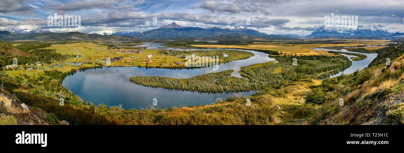 Panoramic View from Mirador Rio Serrano - Torres del Paine N.P. (Patagonia, Chile) - Stock Image