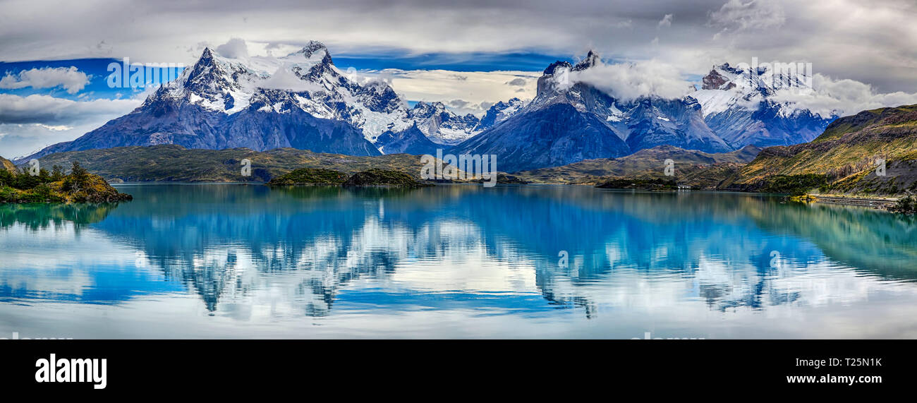 Reflection of Cuernos del Paine at Lake Pehoe - Torres del Paine N.P. (Patagonia, Chile) - Stock Image