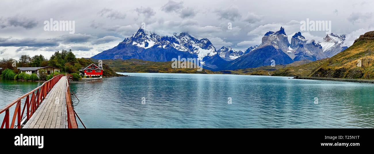 Bridge at Lake Pehoe - Torres del Paine N.P. (Patagonia, Chile) - Stock Image