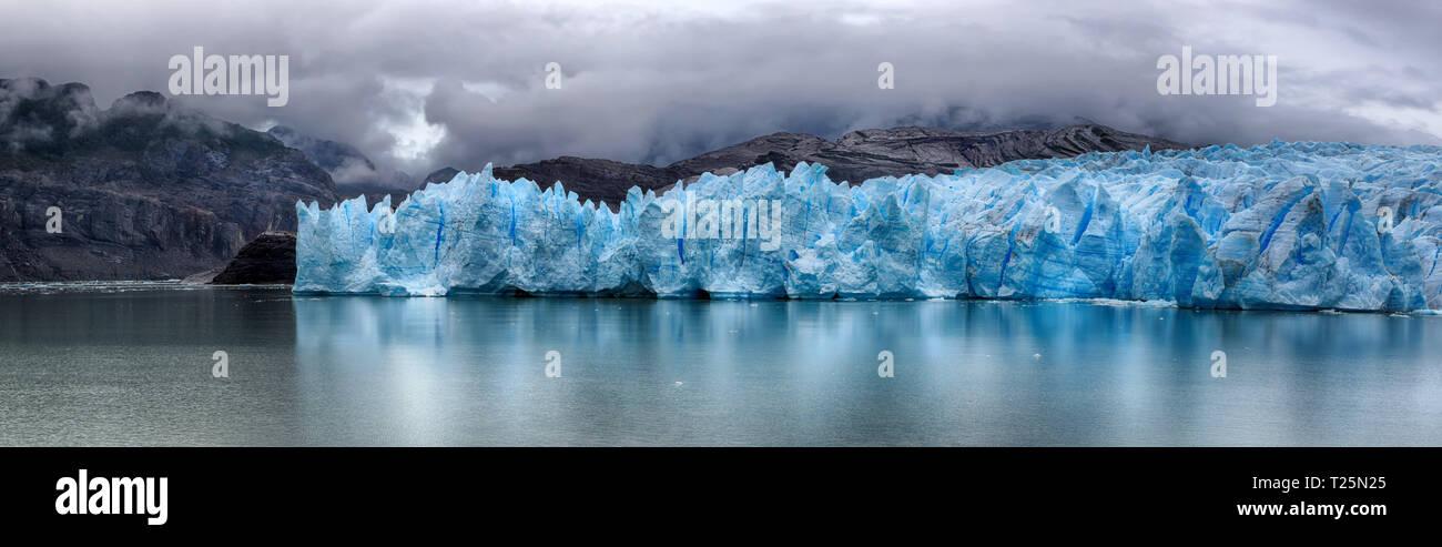Grey Glacier at Torres del Paine N.P. (Patagonia, Chile) - HDR panorama 03 - Stock Image