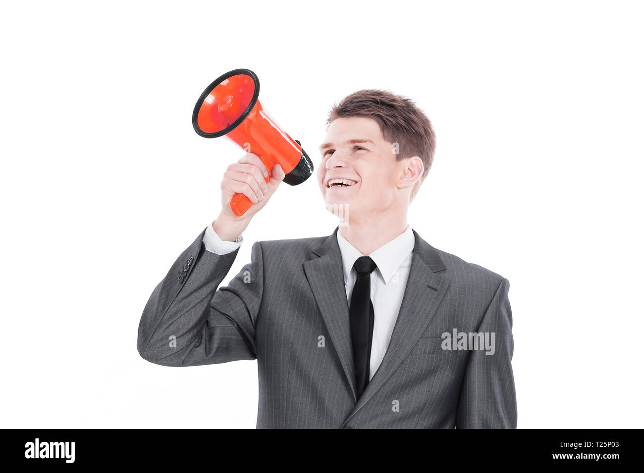 young businessman with a megaphone.isolated on a white - Stock Image