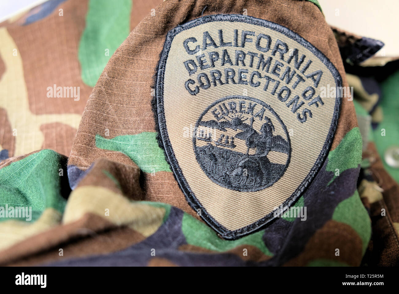 California Department of Corrections uniform patch; logo on correctional officer uniform; correctional officers. - Stock Image