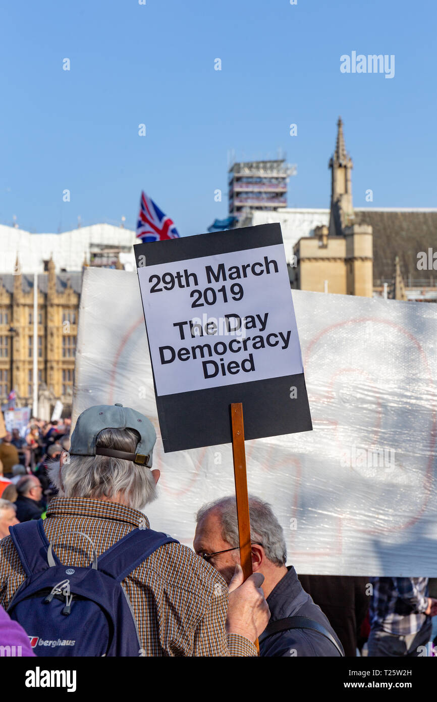 Westminster, London, UK; 29th March 2019; Rear View of Pro-Brexit Demonstrator in Parliament Square During the March to Leave Rally Holding Placard - Stock Image