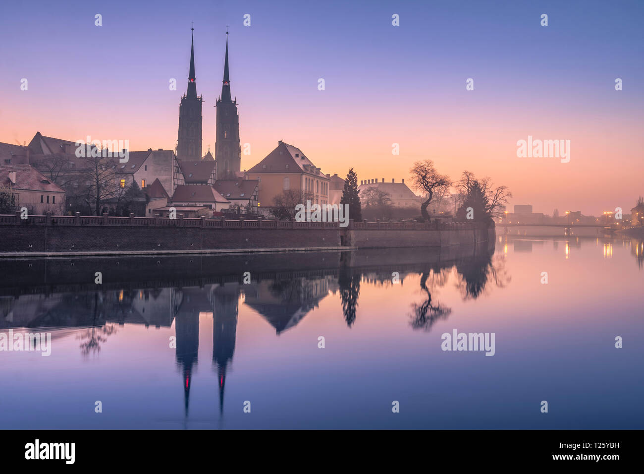 Ostrów Tumski, Wrocław, at sunrise. Stock Photo