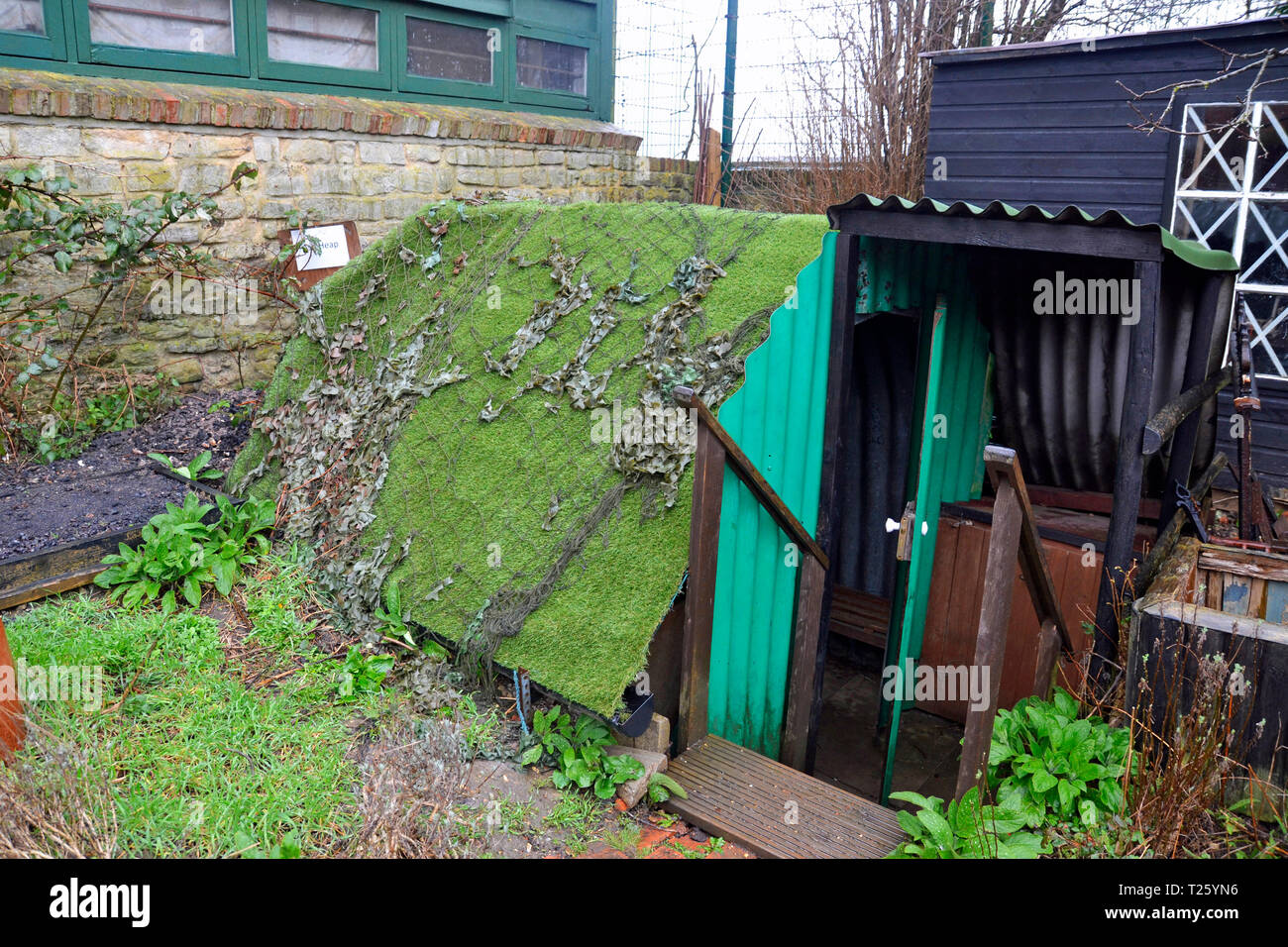 An Anderson Shelter at Milton Keynes Museum, Wolverton and Greenleys, in Milton Keynes, Buckinghamshire, UK - Stock Image