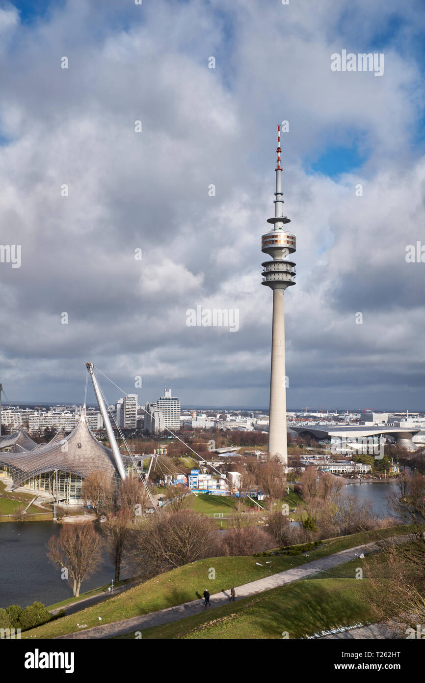 Germany, Munich, Olympic Park with Olympic Tower - Stock Image