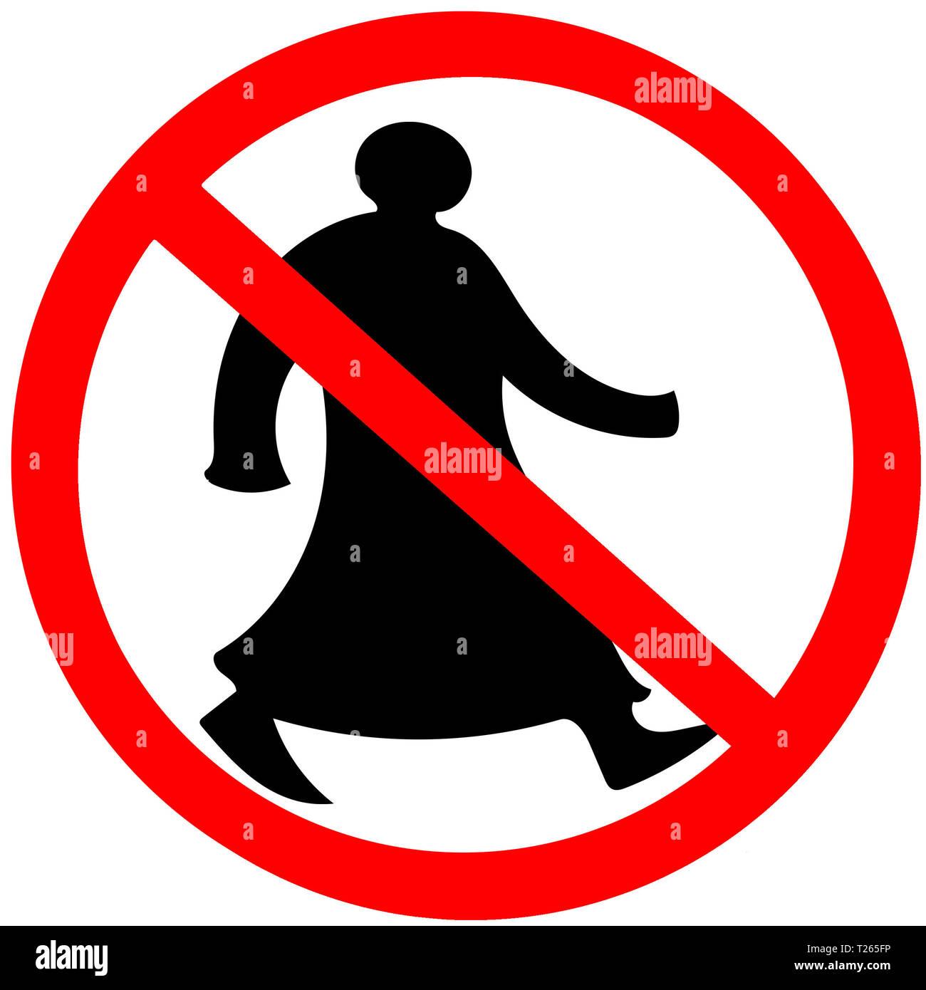 Walking arab circular prohibition road sign warning caution isolated - Stock Image