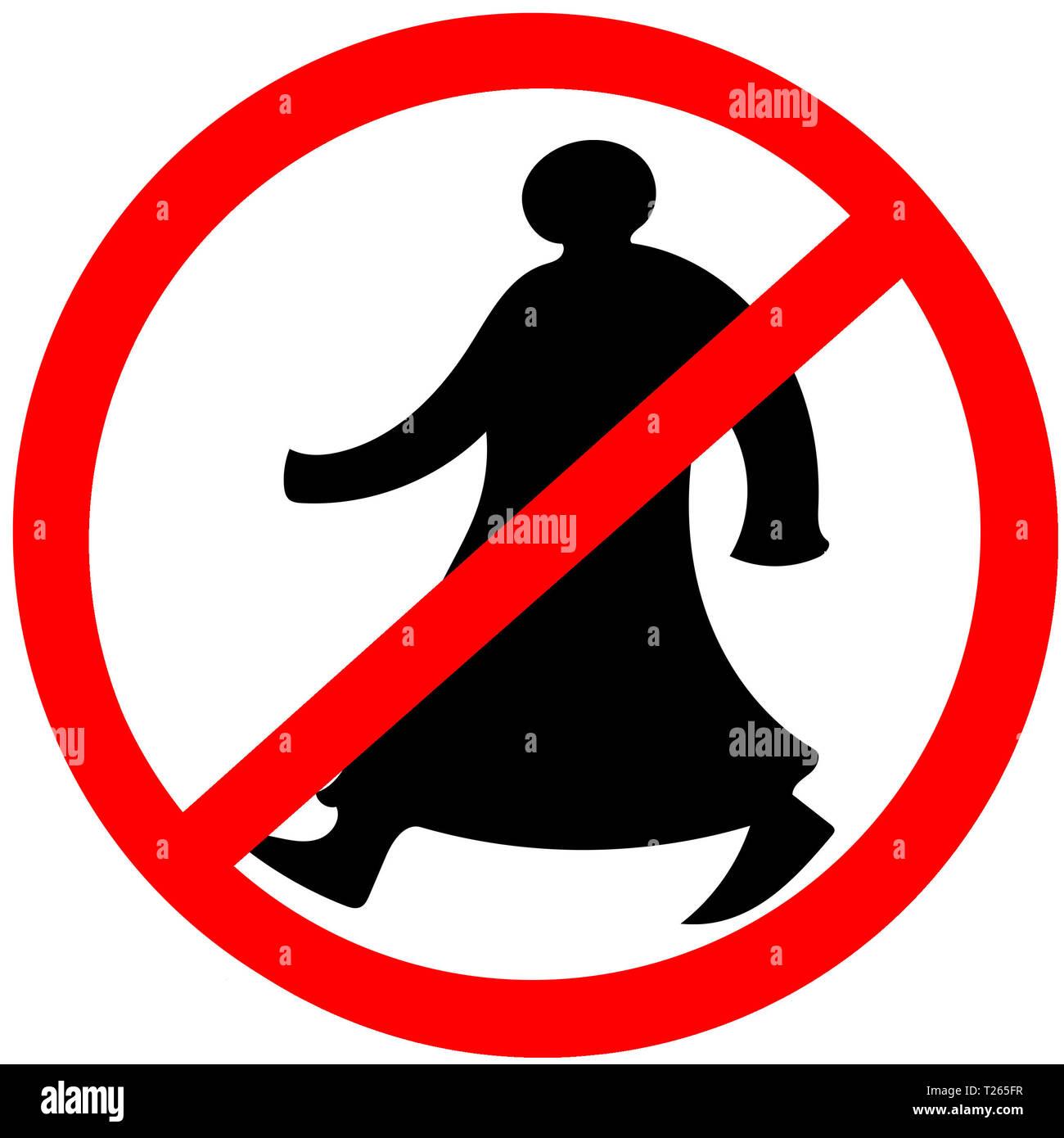 Walking arab circular prohibition road sign warning caution isolated. - Stock Image