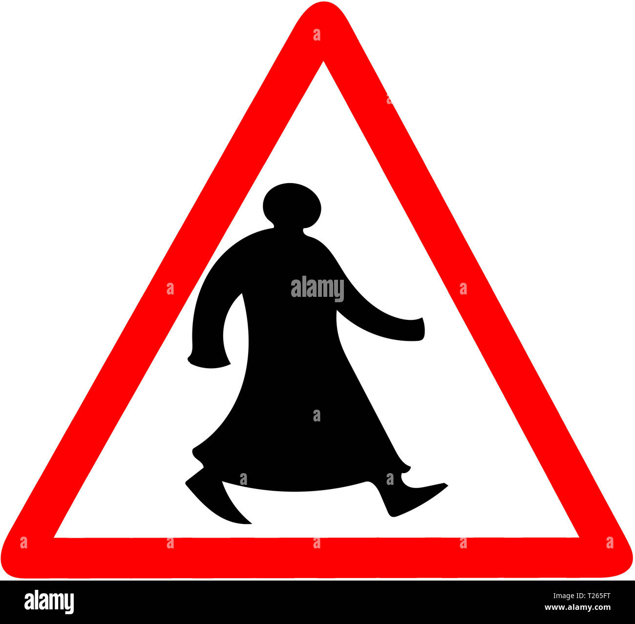 Walking arab tiangular road sign warning caution isolated. - Stock Image