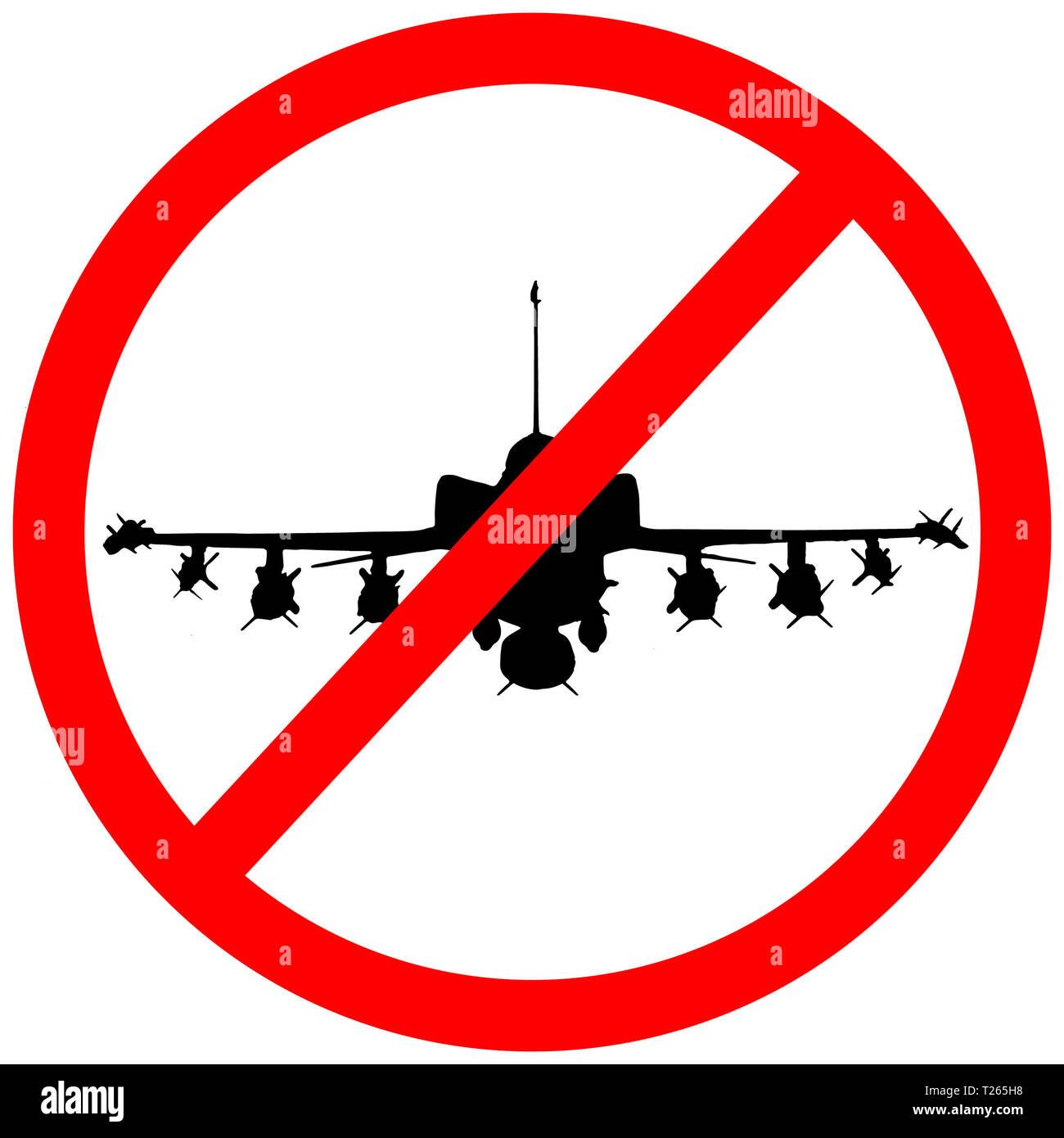 f35 millitary aircraft circular road sign icon warning. - Stock Image