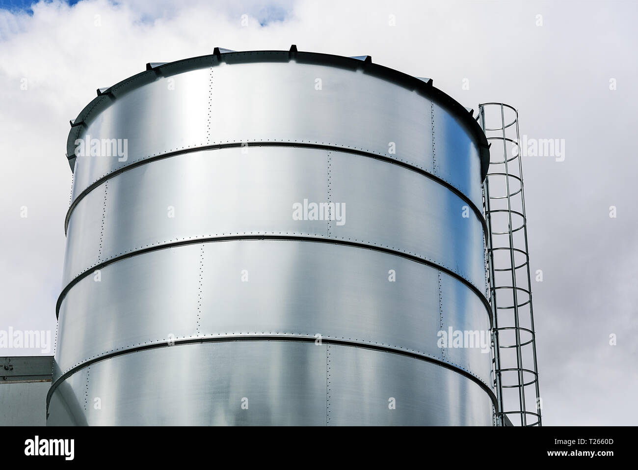 Agriculture Industry equipment - large modern silo for storing grain harvest in close-up. Stock Photo