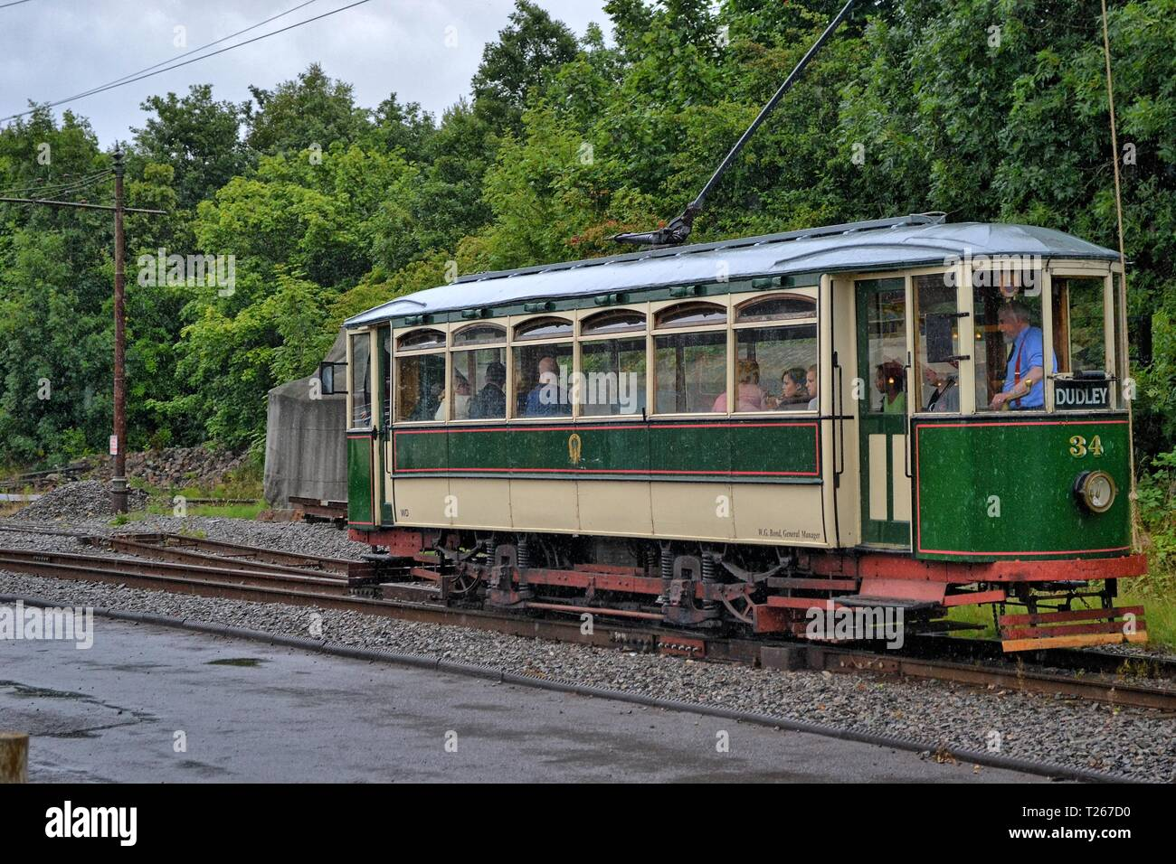 Tram at The Black Country Living Museum, an open-air museum of rebuilt historic buildings in Dudley, West Midlands, England, UK - Stock Image