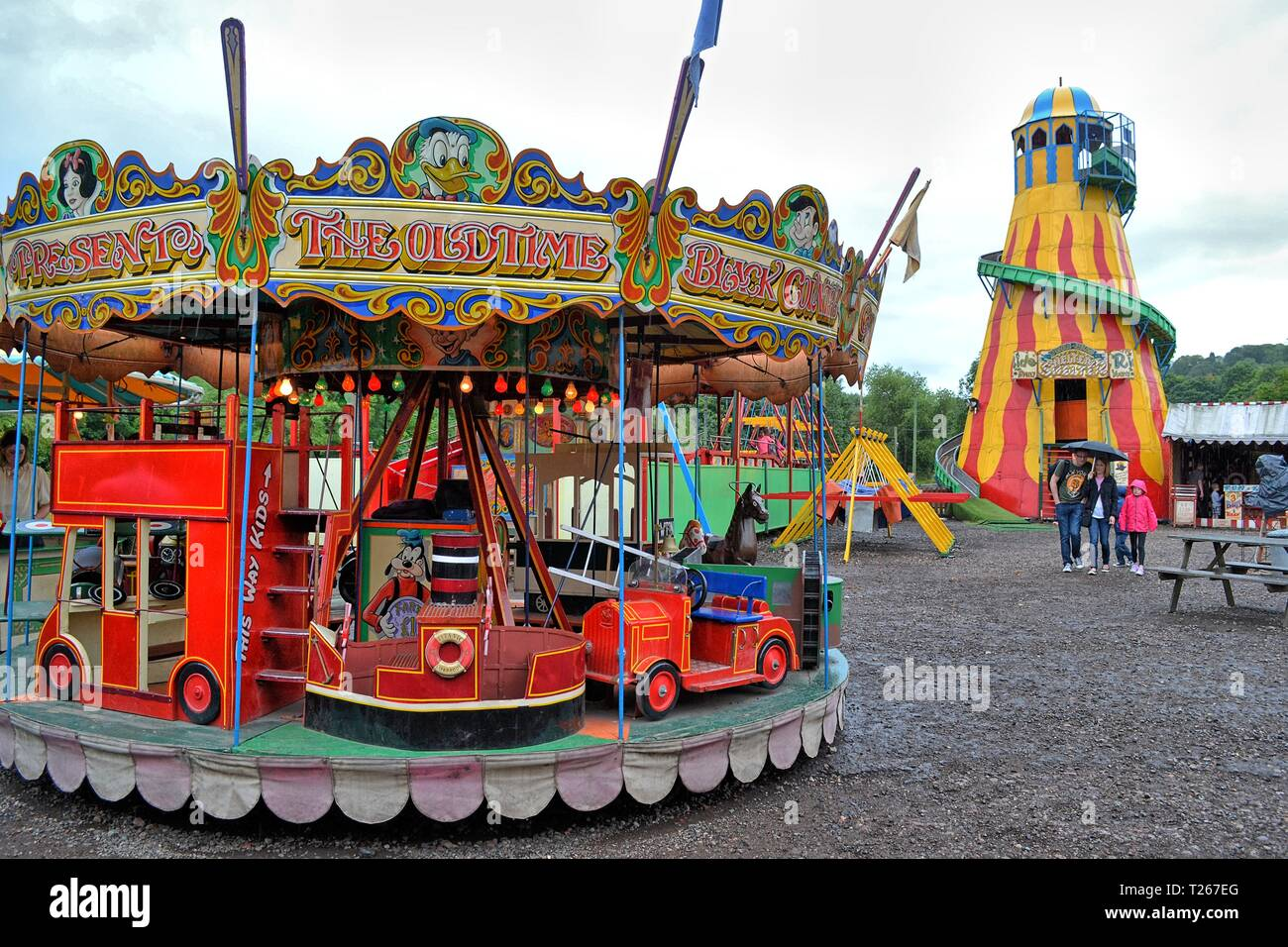 Fairground at The Black Country Living Museum, an open-air museum of rebuilt historic buildings in Dudley, West Midlands, England, UK - Stock Image