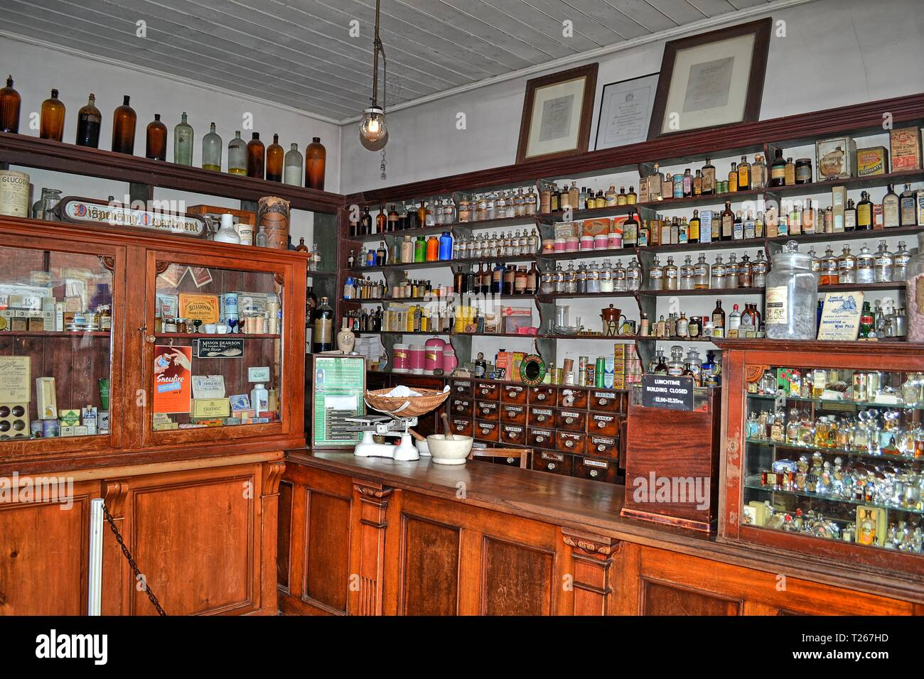 Victorian pharmacy at the Black Country Living Museum, an open-air museum of rebuilt historic buildings in Dudley, West Midlands, England, UK - Stock Image