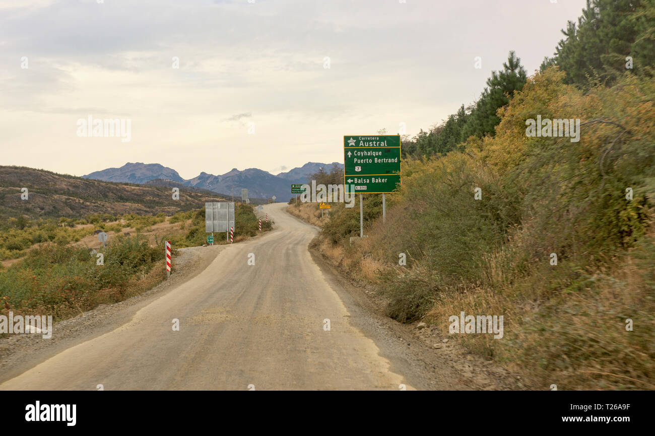 The wild Carretera Austral road through Patagonia, Aysen, Chile - Stock Image