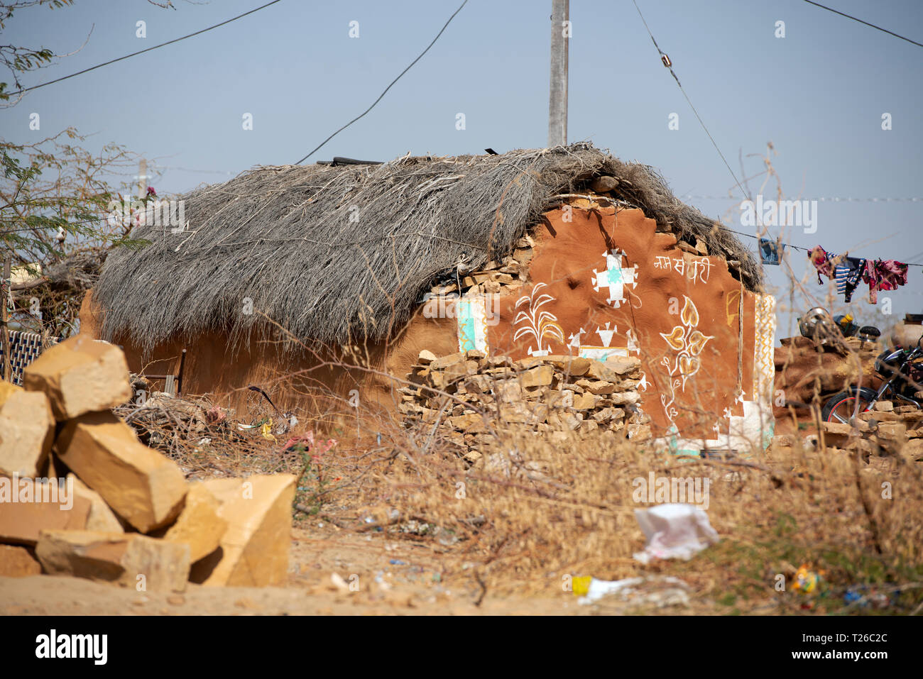 A traditional house of the Bhil tribe in a small village in Rajasthan, India. - Stock Image