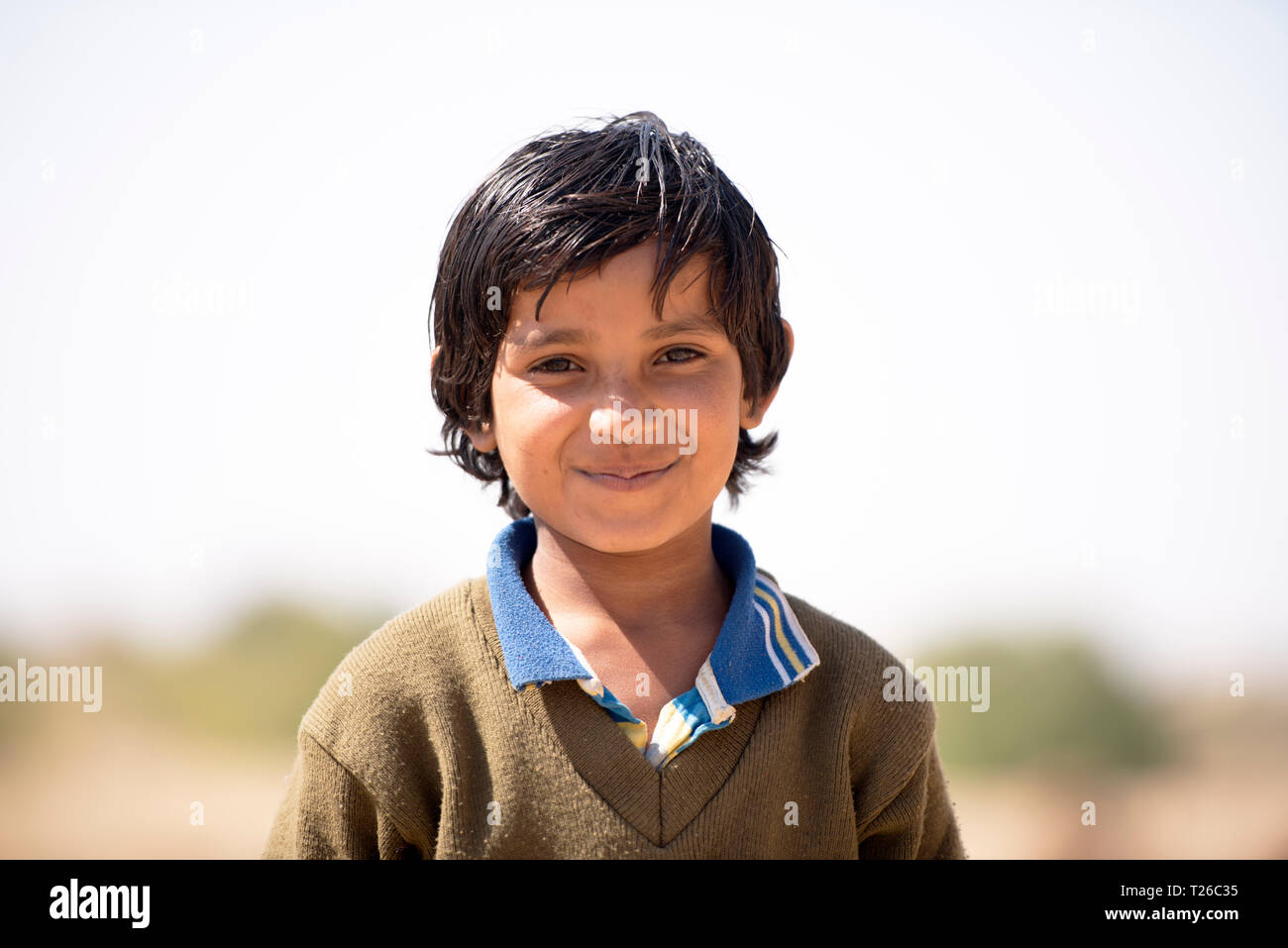A young Bhil tribe boy, Rajasthan, India. - Stock Image