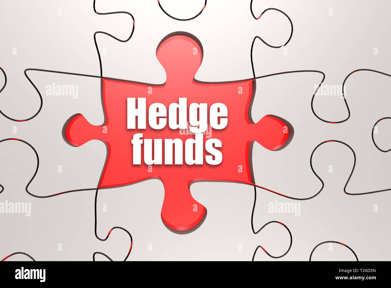 Hedge funds word on jigsaw puzzle, 3D rendering - Stock Image