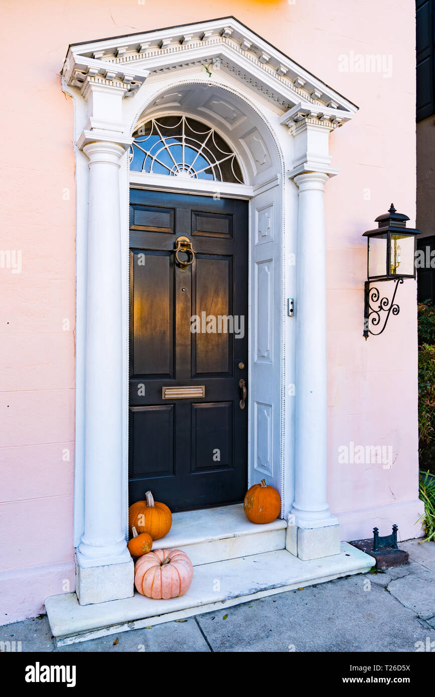 Ornate detail of front door of historic home in Charleston, South Carolina - Stock Image