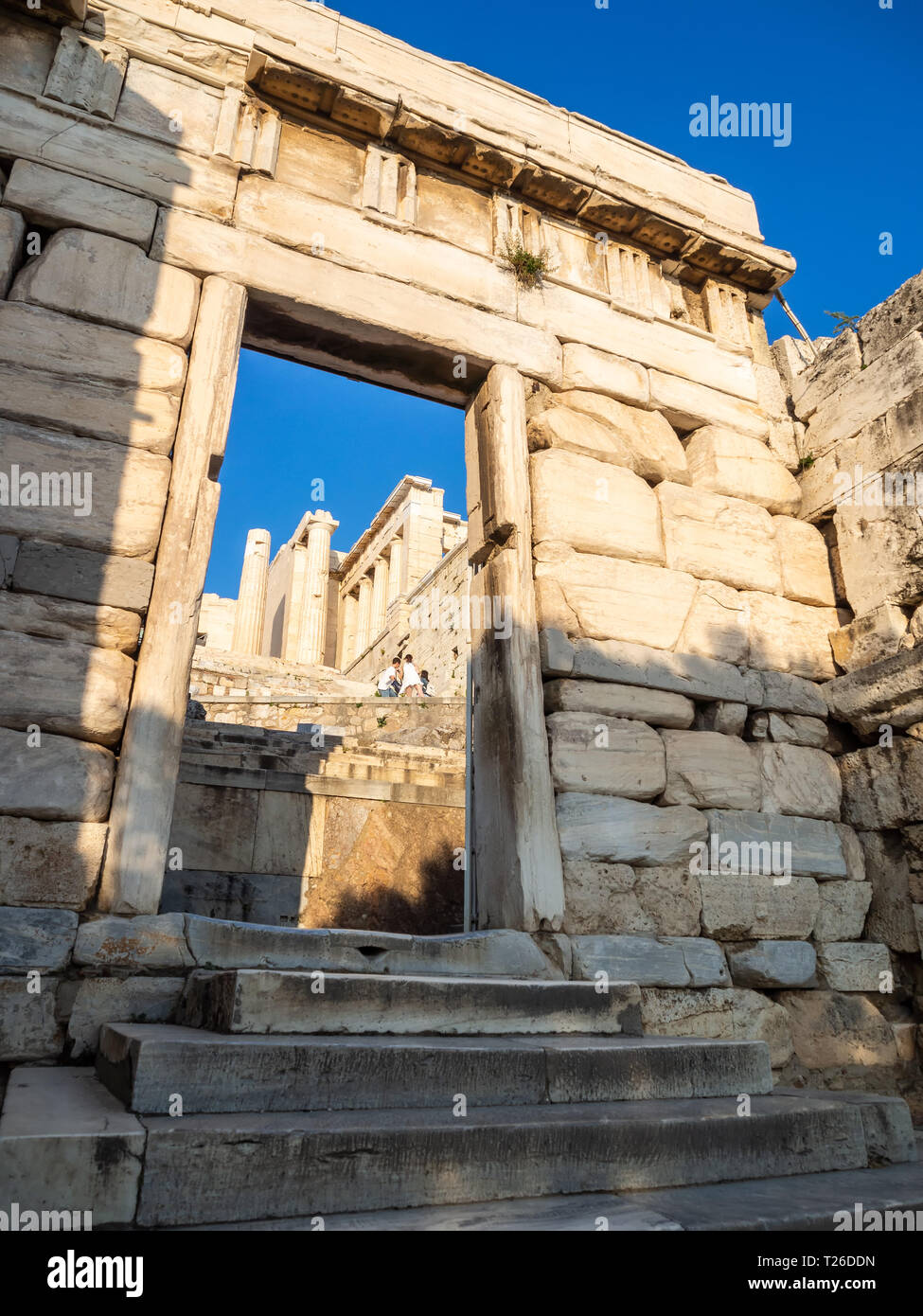 Propylaea entrance to Acropolis in Athens, Greece against sunset Stock Photo