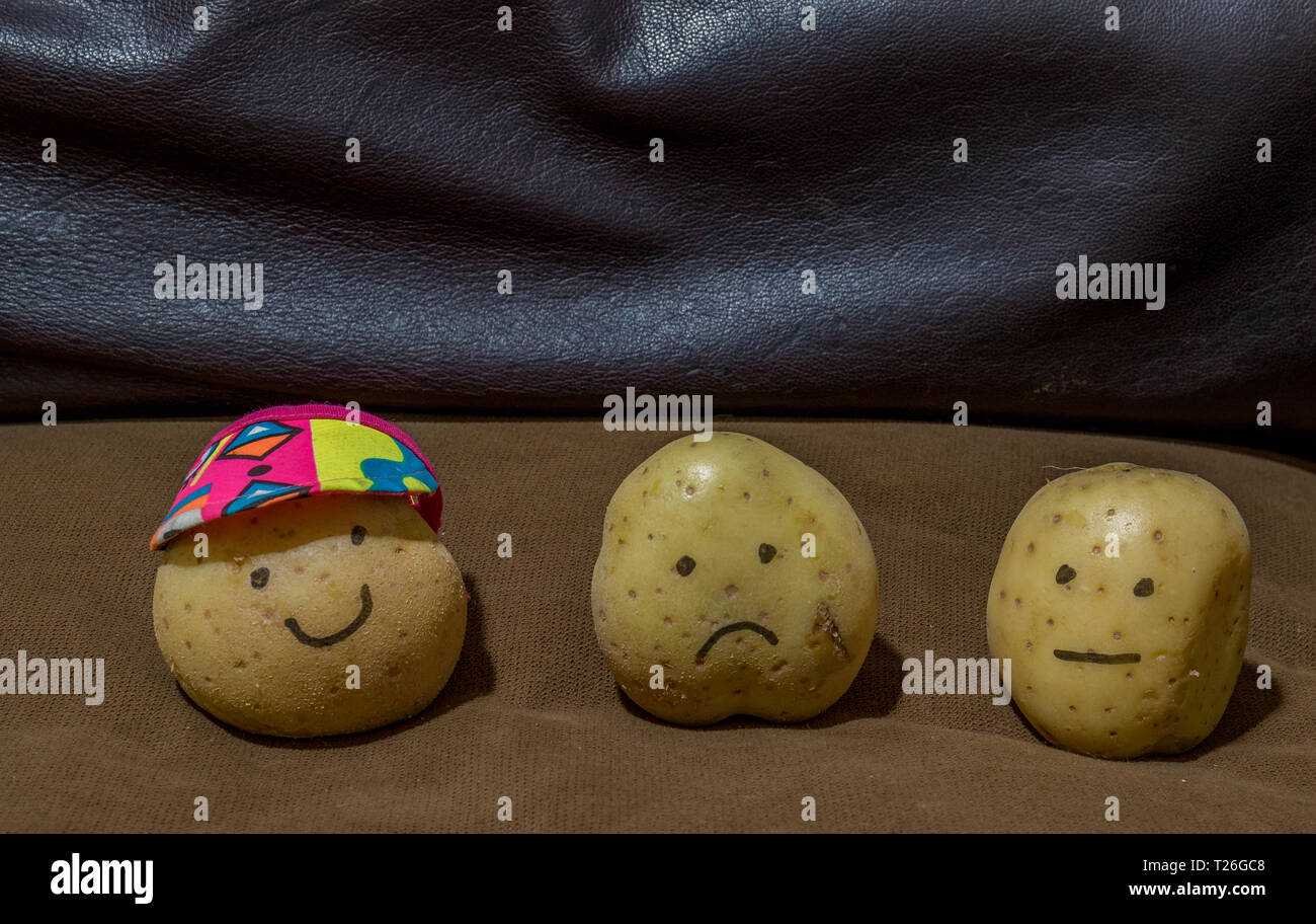 Three fresh potatoes isolated on a brown couch in a home image with copy space in landscape format - Stock Image